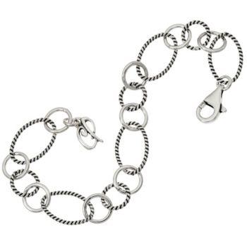 Carolyn Pollack Sterling Silver Charm Link Bracelet 7.3g