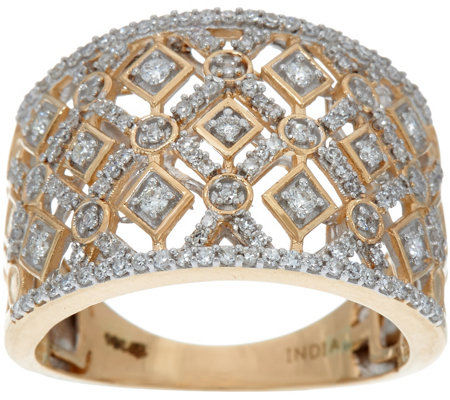 Round White Diamond Wide Ring, 14K Gold 1/2 cttw by Affinity