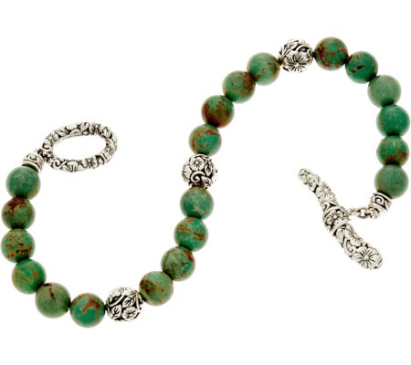 """As Is"" JAI Sterling Carved Floral & Turquoise Bead Bracelet"