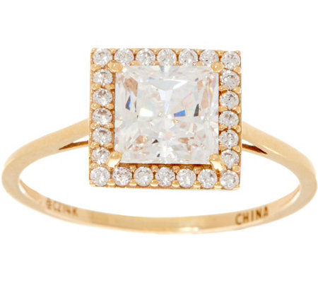 Diamonique Princess Halo Ring, 14K Gold