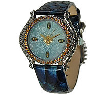 Barbara Bixby Carved Mother of Pearl Dial Leather Strap Watch - J376624