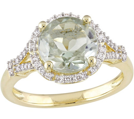 14K Gold 2.75 ct Green Amethyst & 1/5 cttw Diamond Floral Rin