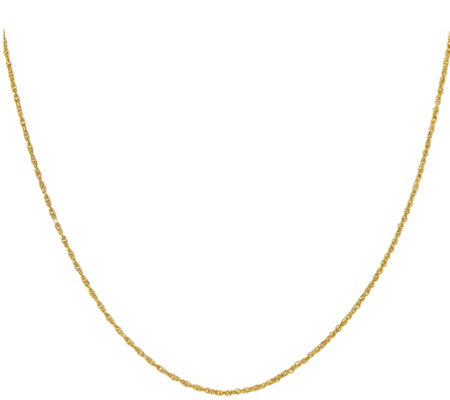 "14K 1.2 mm Diamond-Cut Rope 16"" Chain, 1.8g"