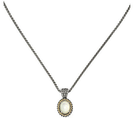 "Sterling & 14K Mother-of-Pearl Pendant with 18""Chain"