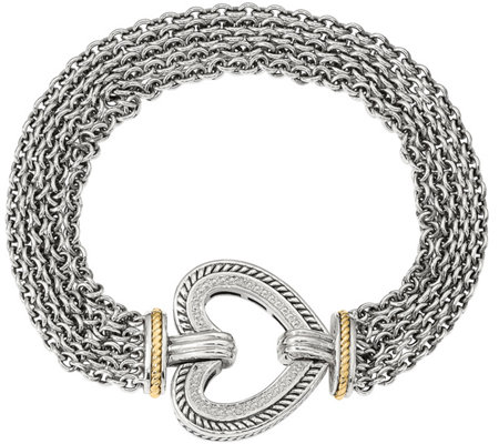 Sterling & 14K Diamond Accent Heart Bracelet
