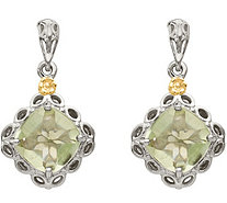 Sterling & 14K 6.50 cttw Green Amethyst Earrings - J378124