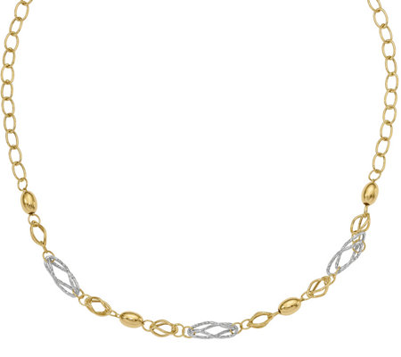 14K Gold Two-Tone Beaded & Multi-Link Necklace,4.5g