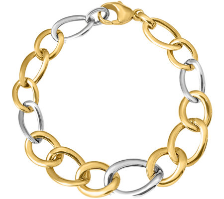 Italian Gold Two-Tone Bold Curb Link Bracelet 14K, 8.1g