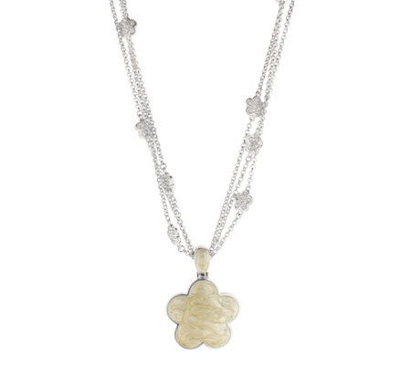 Lauren G Adams Silvertone Daisy Pendant w/ Adjustable Chain