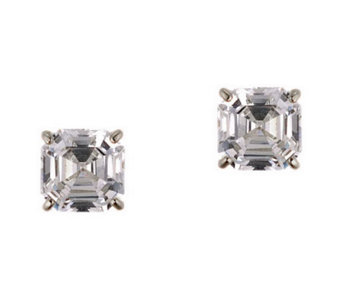 Diamonique 3.00 ct tw Asscher Stud Earrings, 14K Gold - J105325