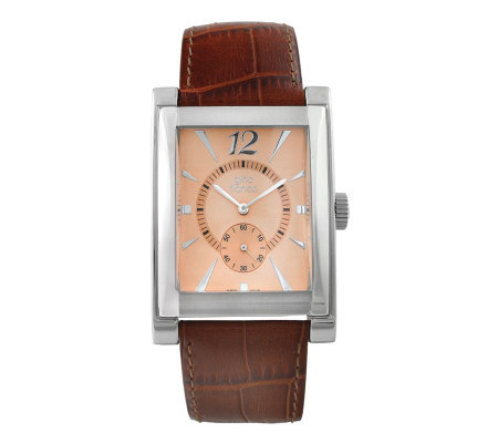 Gino Franco Men's Square Strap Watch - Brown Croco Strap