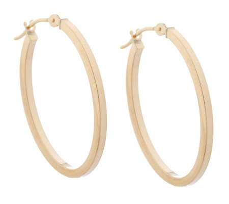 "1"" Square Tube Oval Hoop Earrings 18K Gold"