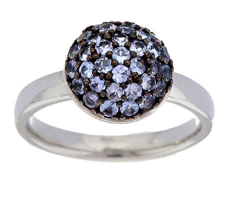 0.55 ct tw Exotic Gemstone Pave' Round Sterling Stack Ring