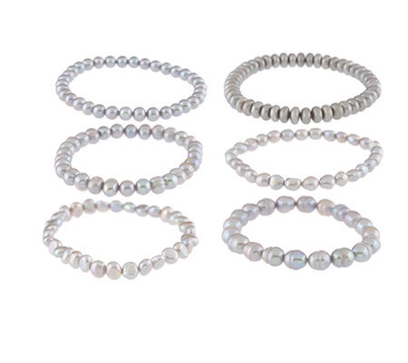"Honora Cultured Pearl Set of 6 7-1/4"" Stretch Bracelets"