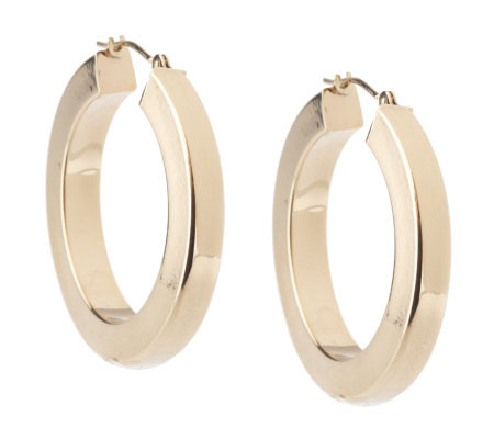 """As Is"" Medium Square 14K Gold Tube Hoop Earrings"