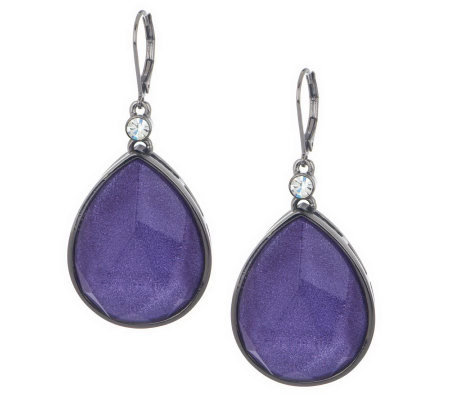 Wendy Williams Faceted Frosted Tear Drop Earrings