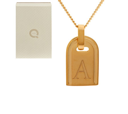 Yellow Bronze Initial Tag Necklace by Bronzo Italia