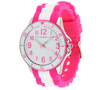 Isaac Mizrahi Live! Colorful Silicone Link Watch - J289125