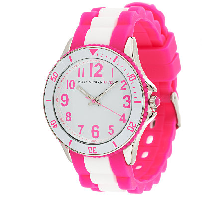 Isaac Mizrahi Live! Colorful Silicone Link Watch