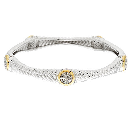 Pave' Diamond Ribbed Bangle, Sterling & 14K Clad, 1/2cttw by Affinity