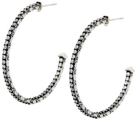 JAI Sterling & Diamonique Croco Hoop Earrings