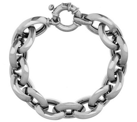 """As Is"" VicenzaSilver Sterling 6-3/4"" Knife Edge Rolo Bracelet, 41.0g"