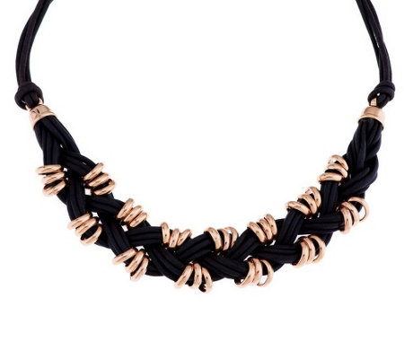 """As Is"" Bronzo Italia 18"" Rondel Braided Cord Necklace"