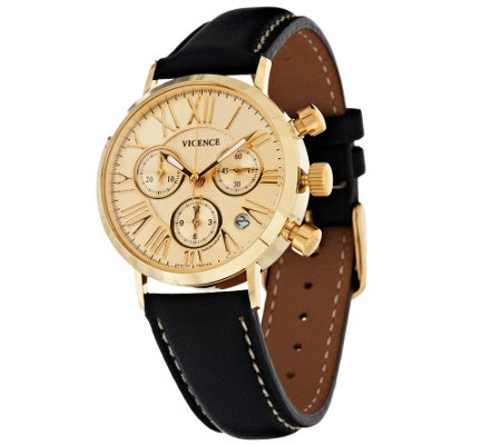Vicence Multi-Function Chronograph Dial Leather Watch, 14K