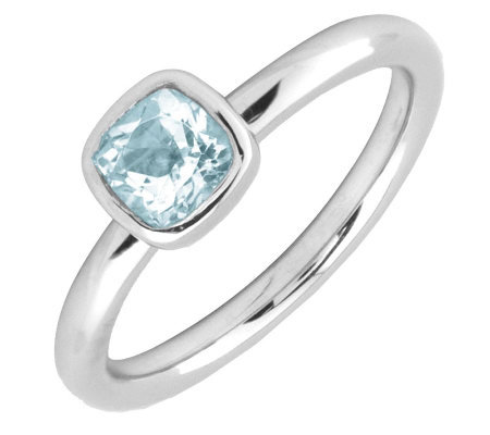 Simply Stacks Sterling & Cushion Cut AquamarineRing