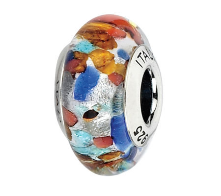 Prerogatives Red/Orange/Blue Spotted Italian Murano Glass Bead