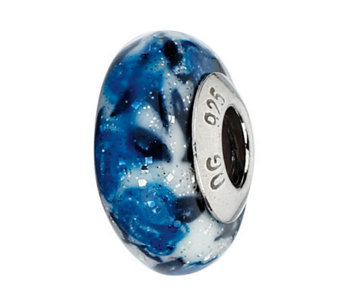 Prerogatives White/Blue Rose Italian Murano Glass Bead - J300425