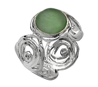Or Paz Sterling Roman Glass Swirl Band Ring - J302125