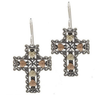 Black Hills Oxidized Heart/Cross Dangle Earrings, Sterling/12