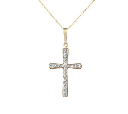 Diamond Fascination Cross Pendant with Chain, 14K Yellow Gold