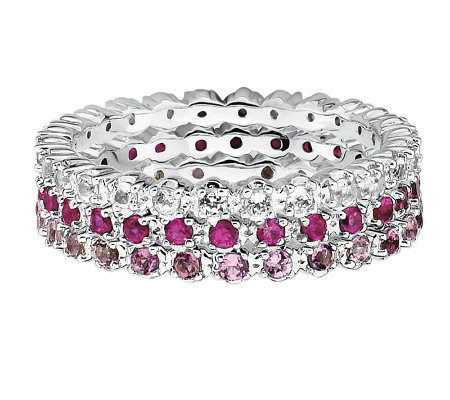 Simply Stacks Sterling Wht Topaz, Ruby, & PinkTour. Ring Set