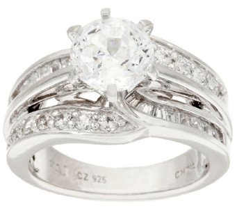 Diamonique 3.00 cttw 100-Facet 6-Prong Ring, Sterling - J318025