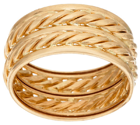 14K Gold 9.5mm Polished & Twisted Rope Double Band Ring