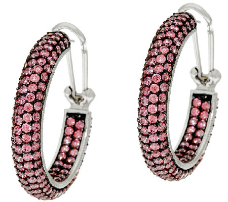 Judith Ripka Sterling_Pave' Diamonique Hoop Earrings