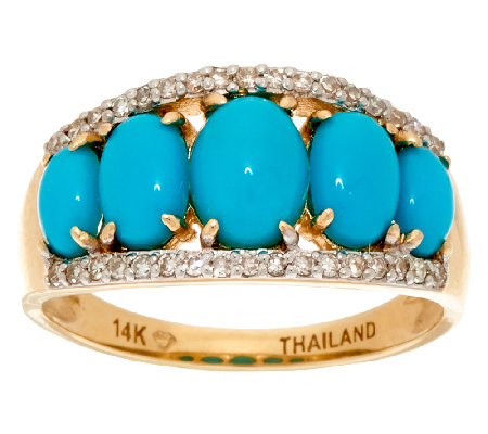 Sleeping Beauty Turquoise & Diamond Band Ring, 14K Gold 1/7 cttw