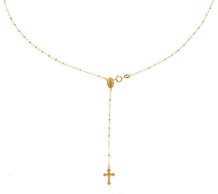 "14K Gold 19-1/2"" Rosary Design Necklace, 2.8g"