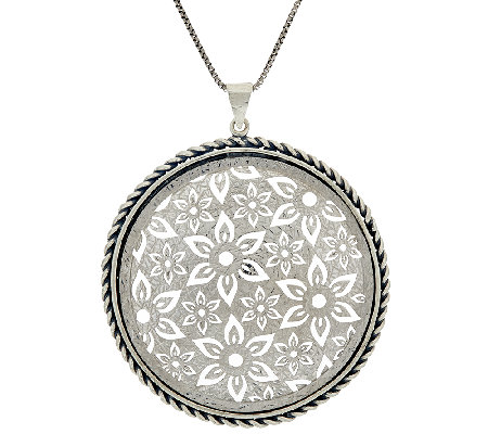 "Or Paz Sterling Silver Openwork Lace Pendant w/ 24"" Chain"