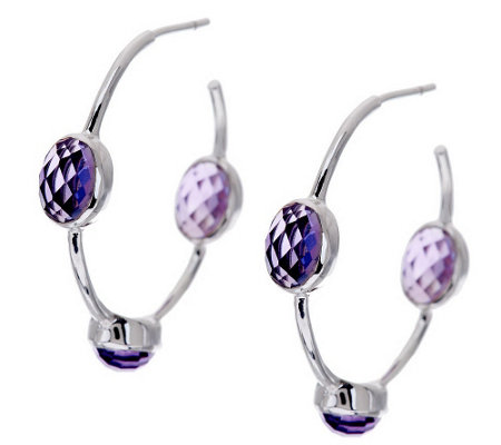 """As Is"" Sterling Gemstone Inside-Out Hoop Earrings"