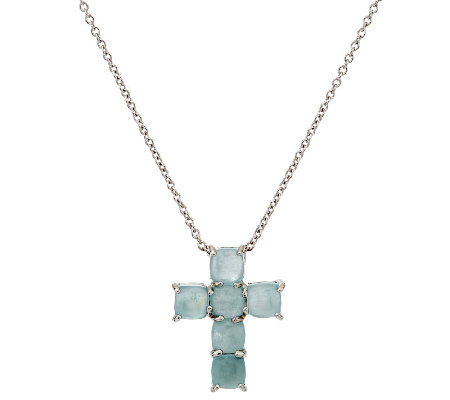 """As Is"" Milky Aqua Cushion Cut Sterling Cross Pendant w/ 16"" Chain"
