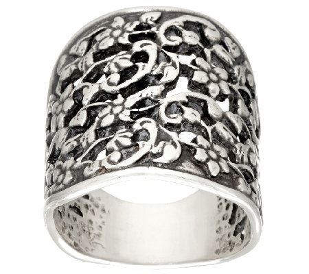 Sterling Silver Floral Lace Ring by Or Paz
