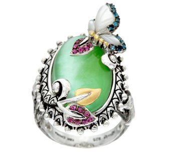 Barbara Bixby Sterling & 18K Garden Multi Gemstone Butterfly Ring - J329125