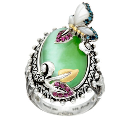 Barbara Bixby Sterling & 18K Garden Multi Gemstone Butterfly Ring
