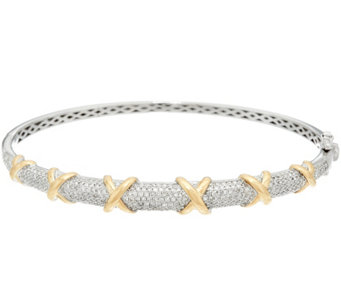 Pave' Diamond Two-Tone Small Bangle, 14K, 1.00 cttw, by Affinity - J331125