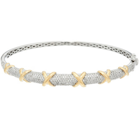 Pave' Diamond Two-Tone Small Bangle, 14K, 1.00 cttw, by Affinity