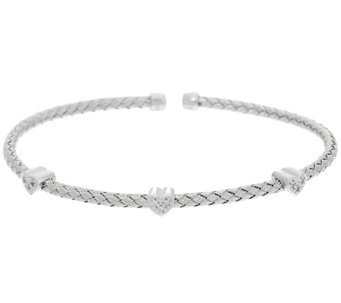 Vicenza Silver Sterling Woven Heart Design Crystal Cuff Bracelet - J331225