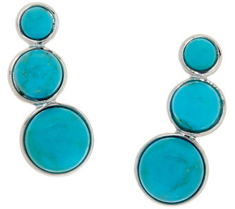 """As Is"" Vicenza Silver Sterling Turquoise Ear Climber Earrings - J332425"